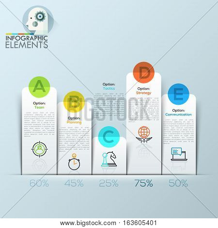 Example of business flat design graph. Infographics column chart made of paper sheets. Vector illustration. can be used for workflow layout, diagram, number options, web design.