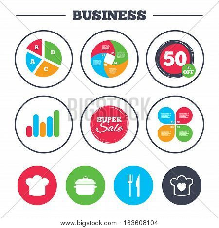 Business pie chart. Growth graph. Chief hat and cooking pan icons. Fork and knife signs. Boil or stew food symbols. Super sale and discount buttons. Vector
