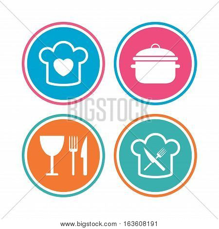 Chief hat with heart and cooking pan icons. Crosswise fork and knife signs. Boil or stew food symbol. Colored circle buttons. Vector