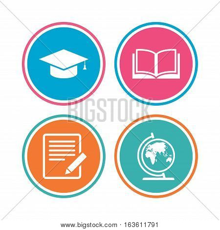 Pencil with document and open book icons. Graduation cap and geography globe symbols. Learn signs. Colored circle buttons. Vector