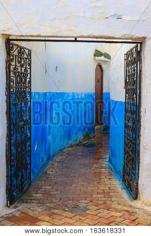 Blue Alleyway In Morocco