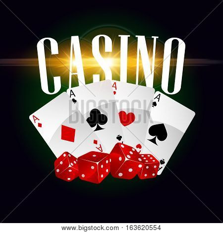 Casino poster with gaming dices and poker cards with spades, hearts, clubs. Las Vegas casino gaming bets concept with golden letters. Vector poster with gold glittering light sparkles