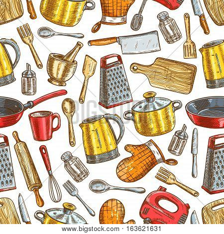 Kitchenware sketch pattern of dishware and cooking utensils electric kettle, spatula and knife, grater with cooking glove, cutting board, fork, mixer, saucepan and frying pan, salt and pepper. Vector seamless background