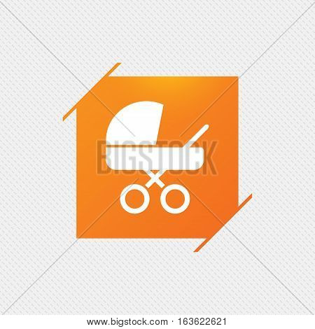 Baby pram stroller sign icon. Baby buggy. Baby carriage symbol. Orange square label on pattern. Vector