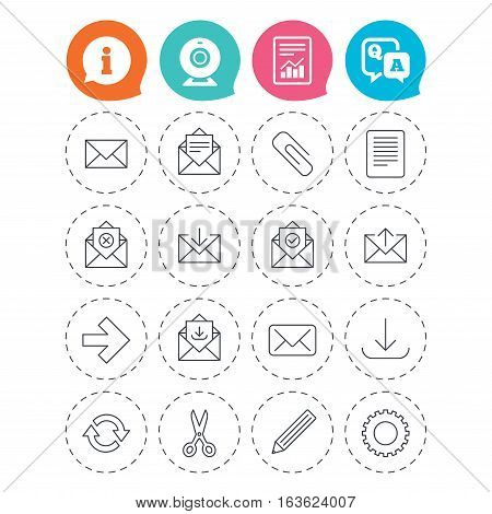 Mail services icons. Send mail, paper clip and download arrow symbols. Scissors, pencil and refresh thin outline signs. Receive, select and delete mail. Information, question and answer icons. Vector