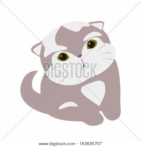 Design element for postcard invitation banner.Cute cat. Vector flat illustration. Cartoon kitten.Stylized sitting cat isolated on the white background cartoon vector illustration.