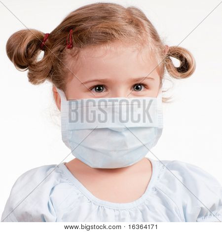Girl wearing a protective mask