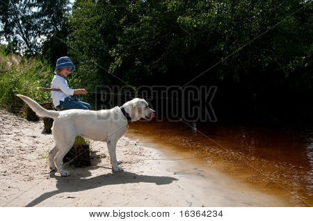 Fishing with dog