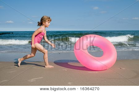 Playing at the beach