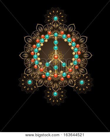 Jewelry gold peace symbol decorated with turquoise and jasper on a dark background. Jewelery in boho style.