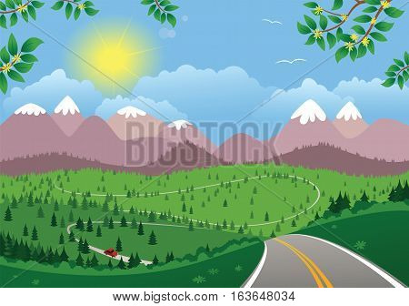 An image of a winding highway in a mountainous landscape.