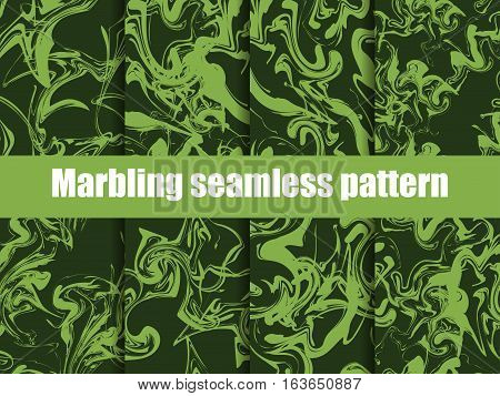Marbling Seamless Pattern Set. Watercolor Marbling Vector Illustration. Greenery Color Trend 2017