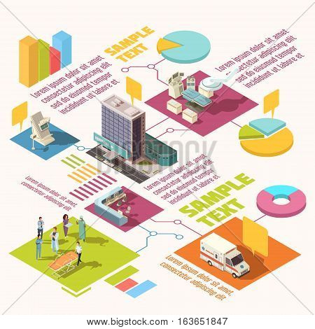 Colorful isometric hospital infographics with sample text and diagram template vector illustration