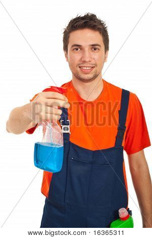 Cheerful Cleaning Worker Man
