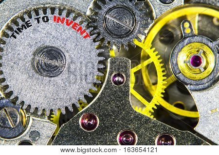 Clockwork Old Mechanical  High Resolution With Words Time To Invent