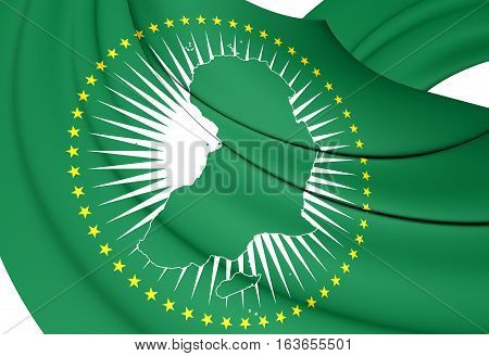 3D Flag Of The African Union. 3D Illustration.