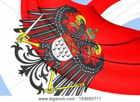 3D Flag Of Cologne, Germany. 3D Illustration.