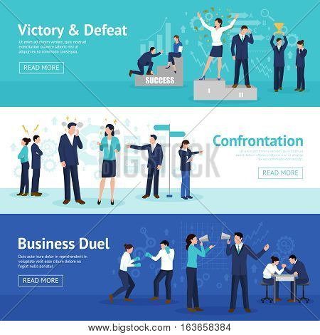 Constructive business confrontation principles for profitable result 3 flat horizontal banners webpage design isolated vector illustration