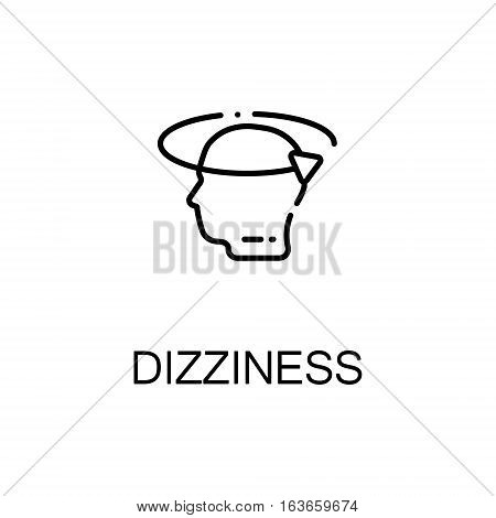 Dizziness flat icon. High quality outline symbol of illness and injury for web design or mobile app. Thin line sign of dizziness for design logo, visit card, etc. Outline pictogram of dizziness