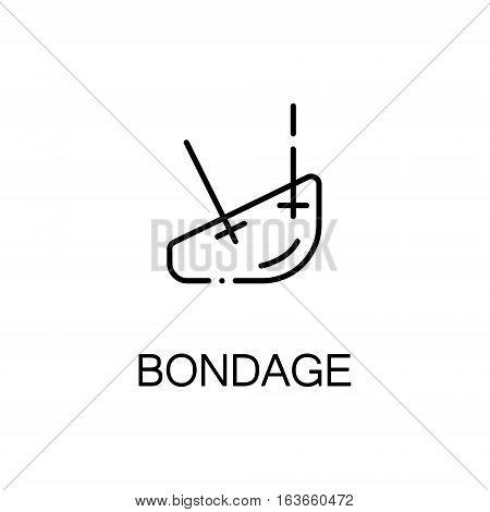 poster of Bondage flat icon. High quality outline symbol of medical euipment for web design or mobile app. Thin line signs of bondage for design logo, visit card, etc. Outline pictogram of bondage