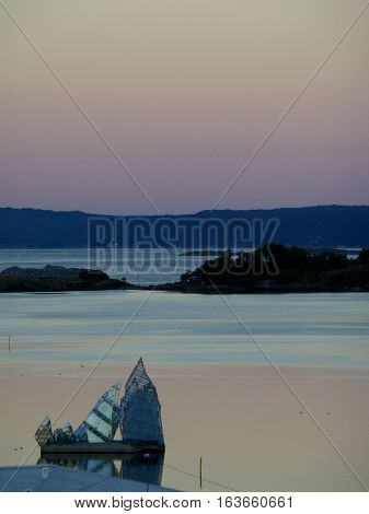 Stunning gradation of pastel color sky before sunrise over the Oslo Fjord, Norway