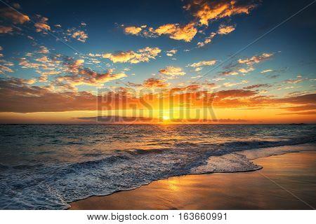 Sunrise over the beach. Punta Cana, Dominican Republic