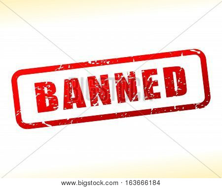 Illustration of banned text buffered on white background