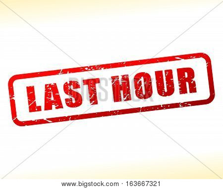 Illustration of last hour text buffered on white background