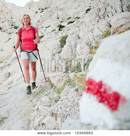 Nordic walking on red trail