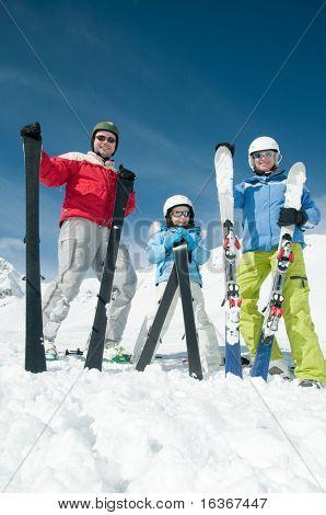 Happy family ski team