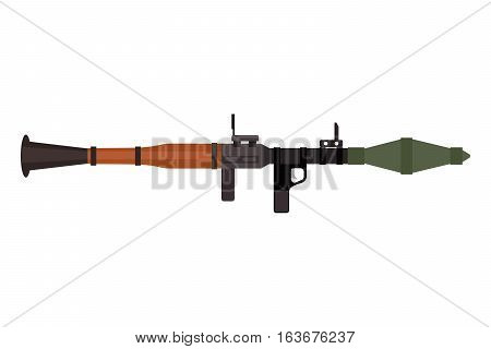 Weapon assault rifle heavy weapon with grenade launcher vector gun. Pistol submachine sniper security revolver icon. Violence firearm police ammunition illustration isolated.