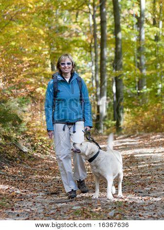 Autumn trekking with dog