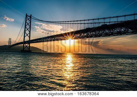 Akashi Kaikyo Bridge Seto Inland Sea In Kobe Japan