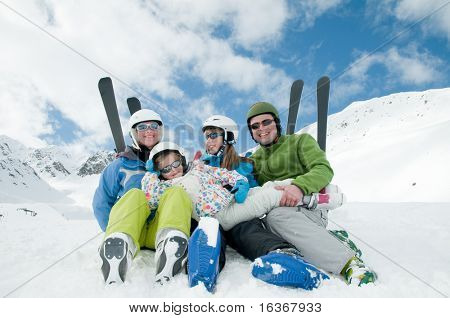Family, ski, snow and fun