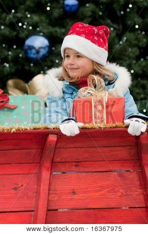 Little girl in Christmas sledge