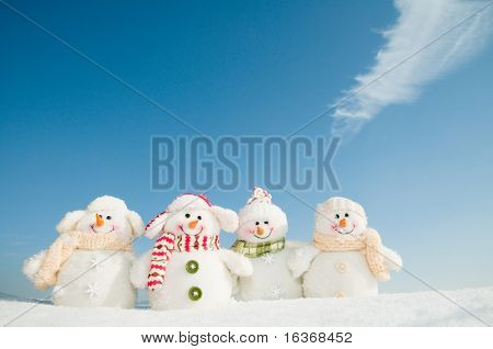 Happy winter friends - Snowman team (copy space)