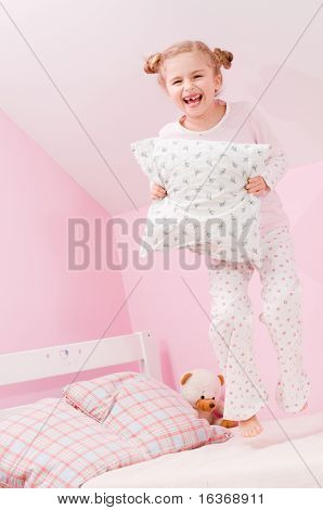 Time to bed - little girl playing in bedroom  (no name teddy bear)