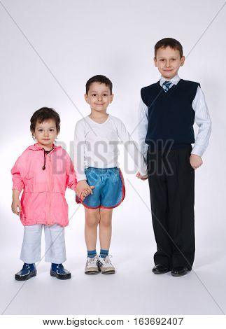photo of three boys on white background