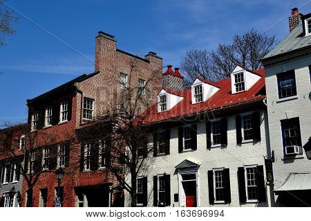 Alexandria Virginia - April 13 2014: 18-19th century Federal era houses on Cameron Street in Old Town