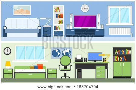 Interiors living room and teenager or student room