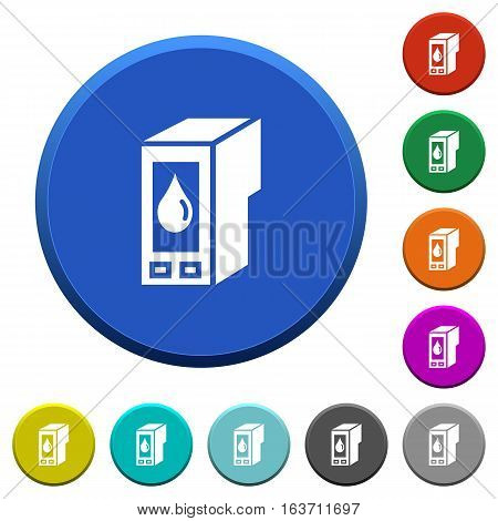 Ink cartridge round color beveled buttons with smooth surfaces and flat white icons