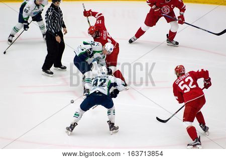 K. Panov (26) And R. Horak (15) On Faceoff