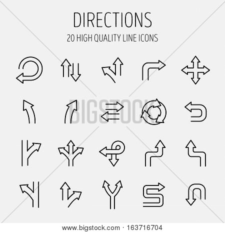 Set of direction icons in modern thin line style. High quality black outline arrow symbols for web site design and mobile apps. Simple linear direction pictograms on a white background.