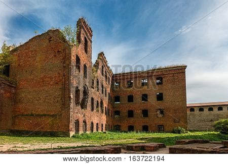 Bombed-out and destroyed building in WWII near Saint-Petersburg, second world war