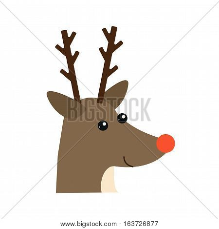 Cute deer cartoon head character. Vector wild mammal nature mascot celebration symbol. Brown wildlife christmas reindeer drawing art illustration.