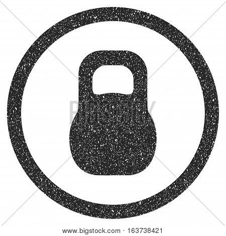 Weight grainy textured icon for overlay watermark stamps. Flat symbol with scratched texture. Dotted vector gray ink rubber seal stamp with grunge design on a white background.