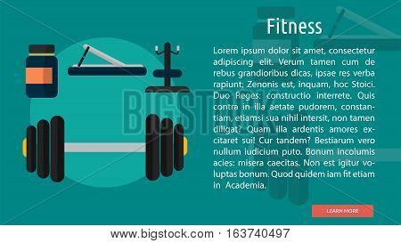 Fitness Conceptual Banner | Great flat icons design illustration concepts for sport, health, medical, banner and much more.