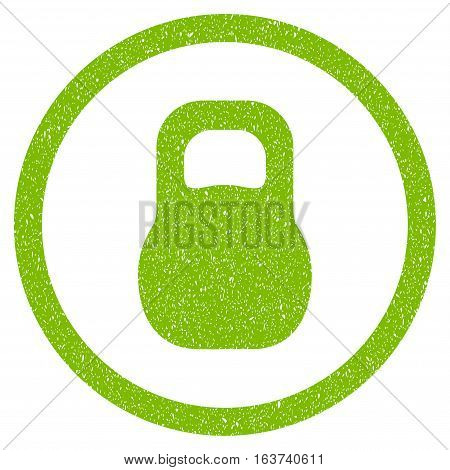 Weight grainy textured icon for overlay watermark stamps. Flat symbol with unclean texture. Dotted vector light green ink rubber seal stamp with grunge design on a white background.