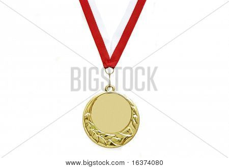 Goldmedaille mit Ribbon isolated over white background