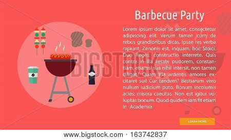 Barbecue Party Conceptual Banner | Great flat icons design illustration concepts for holiday, recreations, traveling, banner and much more.